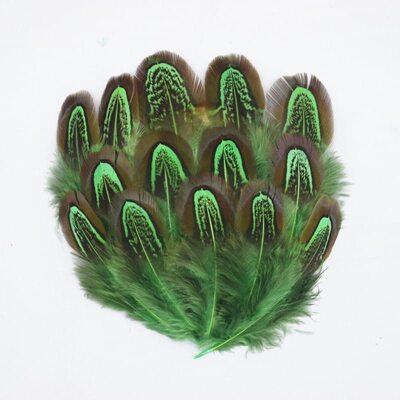 Декоративные перья Pheasаnt разноцветные 5-8 см. 10 шт. Зеленые