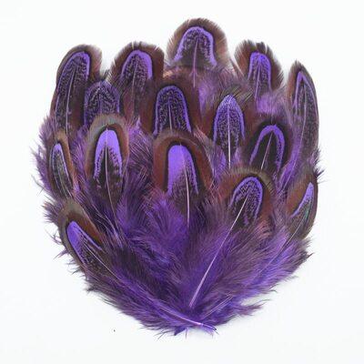 Перья фазана разноцветные 5-8 см. 10 шт. Фиолетовые