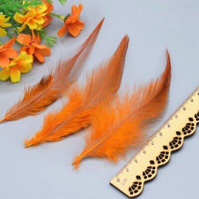 Перья петуха двухцветные 10-15 см. 50 шт. Оранжевый цвет