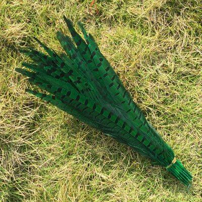 Декоративные перья Pheasаnt 30-35 см. Зеленые