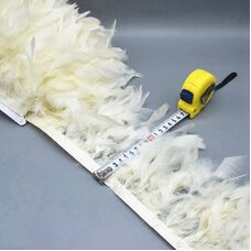 Тесьма из перьев индейки 13-18 см, 1м. - Молочный цвет