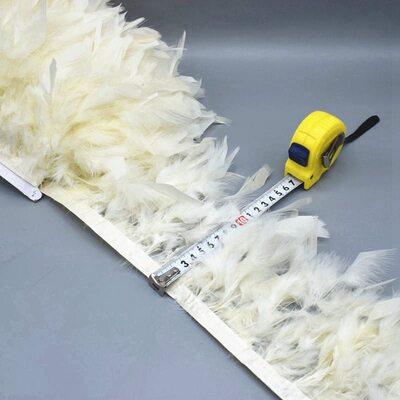 Тесьма из перьев индейки 13-18 см, 1м. - Бежевый цвет