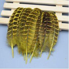 Декоративные перья фазана 10-15 см. 10 шт. Желтые