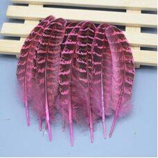 Декоративные перья фазана 10-15 см. 10 шт. Розовые