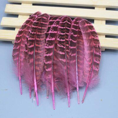 Декоративные перья Pheasаnt 10-15 см. 10 шт. Розовые