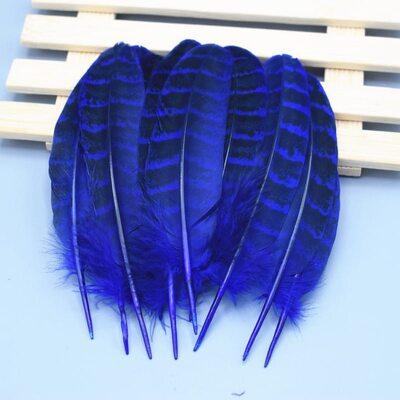 Декоративные перья Pheasаnt 10-15 см. 10 шт. Синего цвета