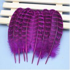 Декоративные перья фазана 10-15 см. 10 шт. Фуксия