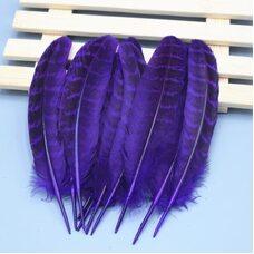 Декоративные перья фазана 10-15 см. 10 шт. Фиолетовые