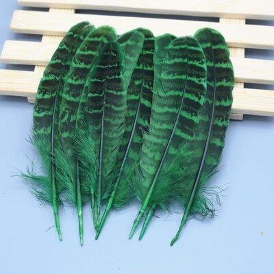 Декоративные перья Pheasаnt 10-15 см. 10 шт. Зеленые