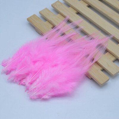Перья петуха 10-15 см. 20 шт. Розовый цвет