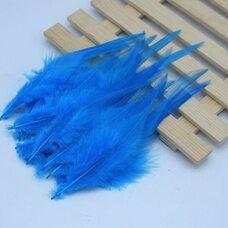 Перья петуха 10-15 см. 20 шт. Голубой цвет