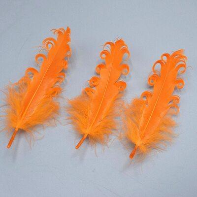 """Перья гуся """"кудри"""" 13-18 см. 10 шт. Оранжевого цвета"""