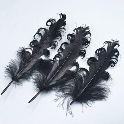 """Перья гуся """"кудри"""" 13-18 см. 10 шт. Черного цвета"""