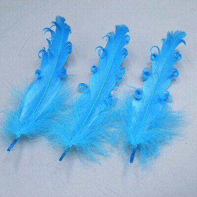 """Перья гуся """"кудри"""" 13-18 см. 10 шт. Голубого цвета"""