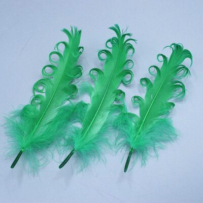 """Перья гуся """"кудри"""" 13-18 см. 10 шт. Зеленый цвет"""