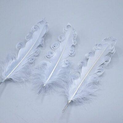 """Перья гуся """"кудри"""" 13-18 см. 10 шт. Серебристый цвет"""