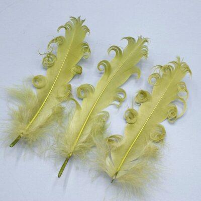 """Перья гуся """"кудри"""" 13-18 см. 10 шт. Хаки цвет"""