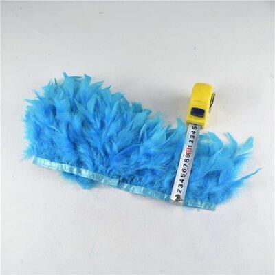 Тесьма из перьев индейки 13-18 см, 1м. - Голубой цвет