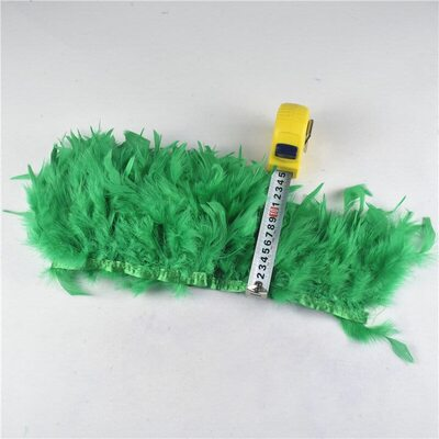 Тесьма из перьев индейки 13-18 см, 1м. - Зеленый цвет