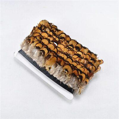Тесьма из декоративных перьев Pheasаnt 5 см, 1м. Натурального цвета