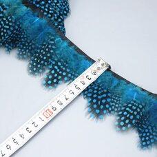 Тесьма из перьев цесарки 6-10 см, 1м. Голубой цвет