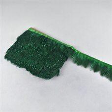 Тесьма из перьев цесарки 6-10 см, 1м. Зеленый цвет