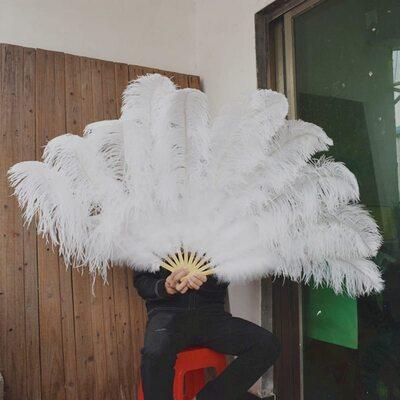 Большой веер из перьев страуса, 1 шт. - Белый цвет