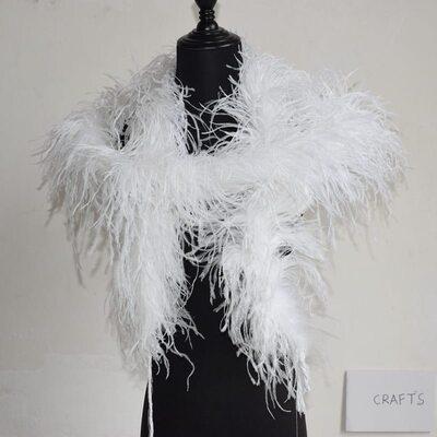 Толстые боа из перьев страуса, пятислойное, 2м,. - Белые