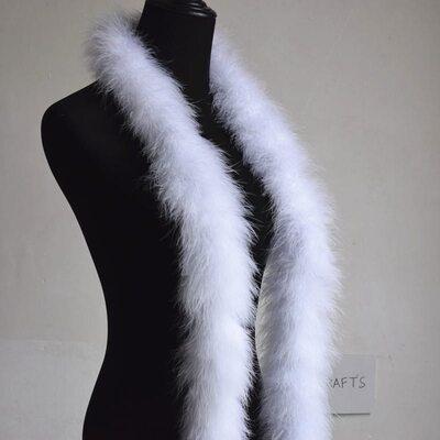 Толстые боа марабу Люкс, длинна 2м, 50гр - Белый цвет