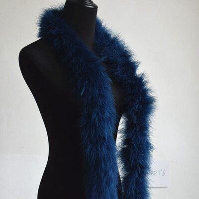 Толстые боа марабу Люкс, длинна 2м, 50гр - Темно-синий цвет