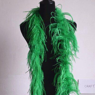 Боа из перьев страуса, 2 нити, длинна 2м. - Зеленые