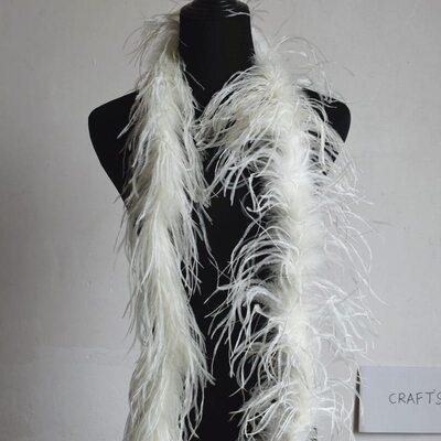 Боа из перьев страуса, однослойное, длинна 2м. - Молочного цвета