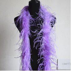 Боа из перьев страуса, однослойное, длинна 2м.. - Светло-фиолетовый цвет