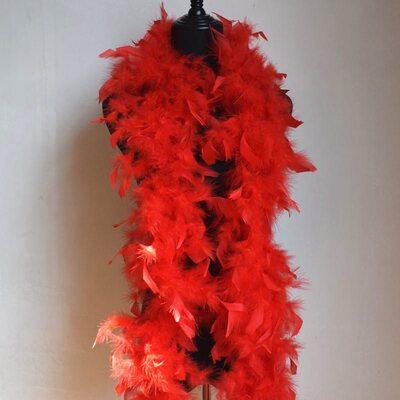 Боа из перьев петуха и индейки 60 гр., 1,8 м. - Красный цвет