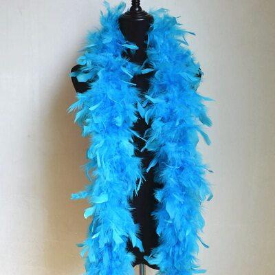 Боа из перьев петуха и индейки 60 гр., 1,8 м. - Голубой цвет
