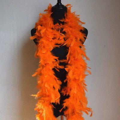 Боа из перьев петуха и индейки 60 гр., 1,8 м. - Оранжевый цвет