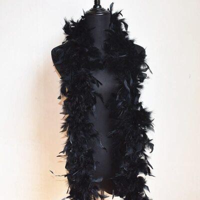 Боа из перьев индейки 60 гр., 1,8 м. - Черный цвет