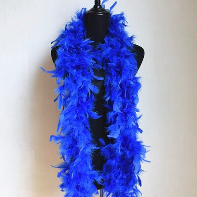 Боа из перьев петуха и индейки 60 гр., 1,8 м. - Синего цвета
