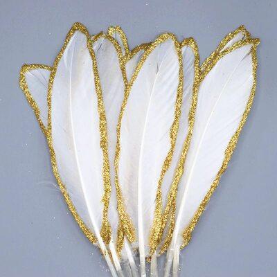 Пушистые перья гуся 15-20 см, 10 шт. Белые в золотом обрамлении