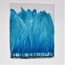 Тесьма из перьев петуха на ленте 25-30 см. Голубой цвет