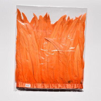 Тесьма из перьев петуха на ленте 25-30 см. Оранжевый цвет