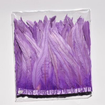 Тесьма из перьев петуха на ленте 30-35 см. Светло-фиолетовый цвет