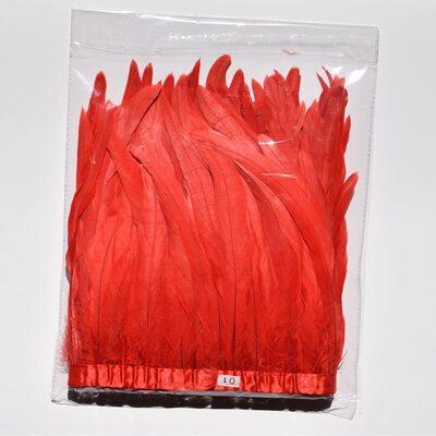 Тесьма из перьев петуха на ленте 25-30 см. Красный цвет