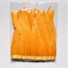 Тесьма из перьев петуха на ленте 25-30 см. Золотистый цвет
