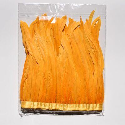 Тесьма из перьев петуха на ленте 30-35 см. Золотистый цвет