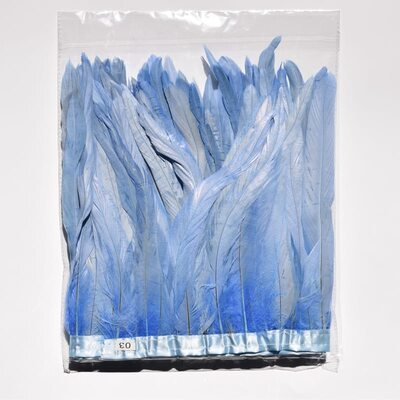 Тесьма из перьев петуха на ленте 25-30 см. Голубое небо