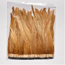 Тесьма из перьев петуха на ленте 25-30 см. Кофейный цвет