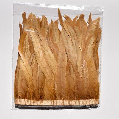 Тесьма из перьев петуха на ленте 30-35 см. Кофейный цвет