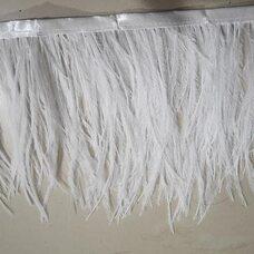 Тесьма из перьев страуса двухслойная (2 ply). 13-15 см, 1м.  - Белый цвет