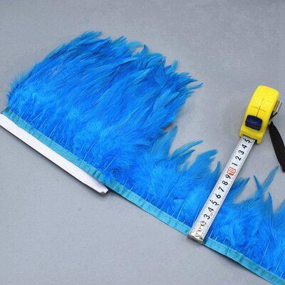 Тесьма из перьев петуха на ленте 10-15 см, 1м. Голубой цвет